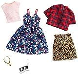 Barbie-GHX57 Pack de accesorios de moda vestido con estampado floral, multicolor (Mattel GHX57)