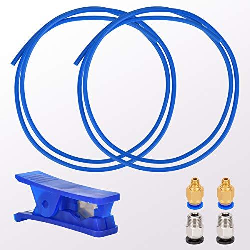 Queta 2m Tubo de teflón, Tubo de PTFE 1,75 mm para filamento de impresora 3D, con accesorios 2*PC4-M6 Conectores Neumáticos, 2*PC4-M10 Conector, 1*Cortatubos