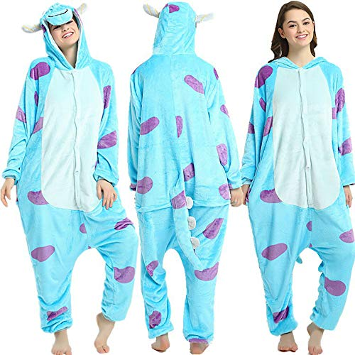 SSM Tier Pyjama Onesies Fasching Halloween Kostüm Schlafanzug Cosplay Pyjama Unisex Erwachsene Damen Karneval Einteiler Monster M