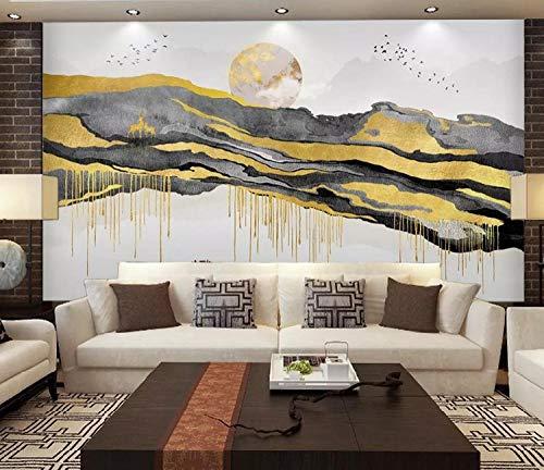 Feng Shui murale Torna a Jinshan camera da letto TV parete concezione artistica paesaggio dorato TV divano sfondo pittura mur carta da parati fotomurali murale Soggiorno camera da letto-430cm×300cm
