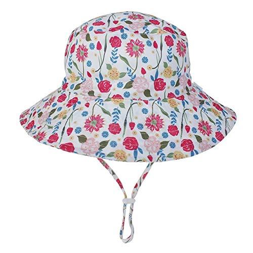 Verano bebé Sombrero para el Sol niños Gorra niños Unisex Playa niñas Sombreros de Cubo Dibujos Animados Infantil protección UV-rose-6-36 Months Baby