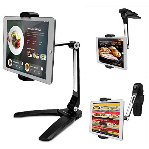 AboveTEK Kitchen Tablet Stand – Highflex 360 Counter and Wall Wobble Free Mount, 4.7 to 13.5 Inch Universal Desktop Mount & Phone Holder - 3 Free Wall Mounts Included