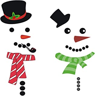 TOPBATHY 2pcs Christmas Wall Stickers Snowman with Hat Scarf Wall Decorations Removable Wall Decals for Office Refrigerato...