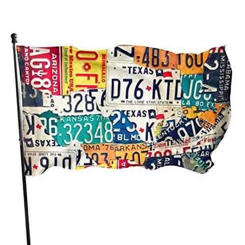 GOSMAO Bandera de jardín Retro Moda Matrícula Graffiti Color Vivo y UV Resistente a la decoloración Bandera de Patio de Doble Costura Bandera de Temporada Bandera de Pared 150X90cm
