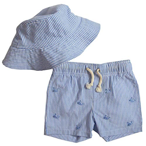 Good Lad Infant and Toddler Boys Embroidered Seeruscker Swimtrunk with Seersucker Hat (2T, Blue)