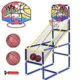 FSHOW Juego de baloncesto de arcade junior, soporte de baloncesto para interiores y exteriores, con aro de baloncesto, red, tablero, bomba, aro de baloncesto para adultos y niños
