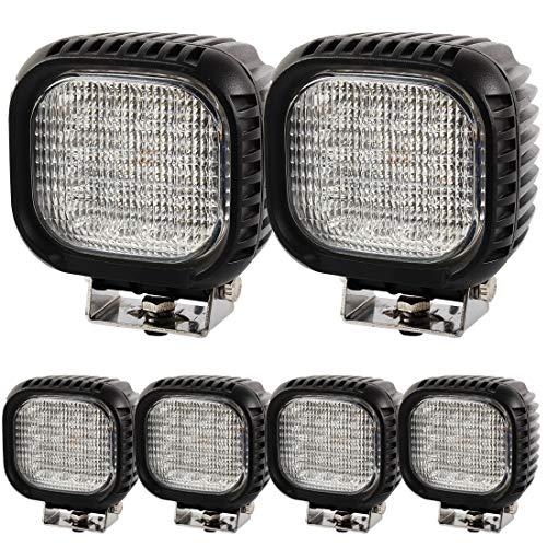 BRIGHTUM 48W CRE LED Offroad Arbeitsscheinwerfer weiß 12V 24V Reflektor worklight Scheinwerfer Arbeitslicht SUV UTV ATV Arbeitslampe Traktor Bagger LKW KFZ (6 Stück)