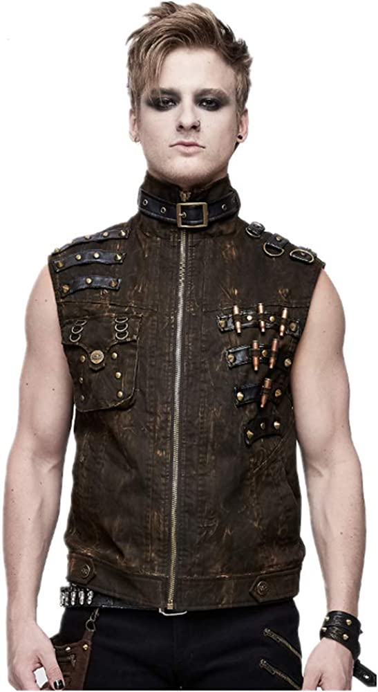 Men's Steampunk Sleeveless Zipper Cardigan Waistcoat Jacket Punk Turtleneck Lace-up Make The Old Retro Vest