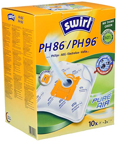 Swirl PH 86/ PH 96 MicroPor Plus Staubsaugerbeutel für Philips, AEG, Electrolux und Volta Staubsauger, Anti-Allergen-Filter , Dauerhaft hohe Saugleistung , 10 Stück inkl. 2 Filter