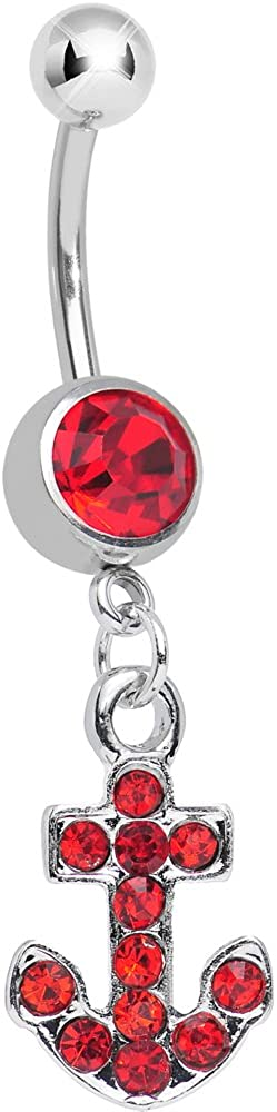 Cheap SALE Start Body Candy Red Sparkle Anchor Ring Belly Discount mail order Dangle