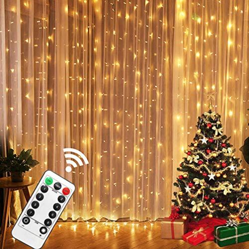 Uonlytech Cadena de luces LED decorativas, cortina de luces LED, festival, cadena de luces LED, luz de estrella, para el hogar, 1 pieza de luz cálida