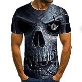 Camiseta De Calavera De Terror para Hombre,Tops Casuales De Verano,Camiseta De Cuello Redondo De Manga Corta Estampada En 3D,Ropa De Calle De Moda,Atuendo De Pareja,5XL