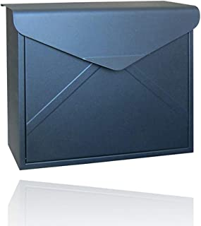 ALXLX Vertical Locking Outdoor Letterboxes Modern Rustic Envelope Style Metal Post Mailbox Country Style Décor Wall Mounted Mailboxes (Color : Black-A)