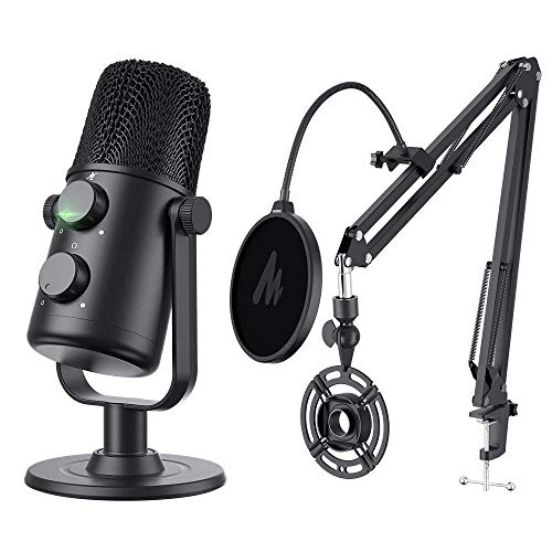 USB Condenser Microphone MAONO AU-902S Cardioid Condenser Podcast Mic kit with Dual Volume Control, Mute Button, Monitor Headphone Jack, Plug and Play for Vocal, YouTube, Livestream, Recording, Gaming. Buy it now for 79.99