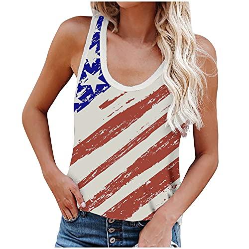 Camiseta de verano para mujer, elegante, con el día de la independencia, con estampado, sexy, sin mangas, para el día de la independencia, elegante, cuello redondo, para yoga, deporte azul oscuro S