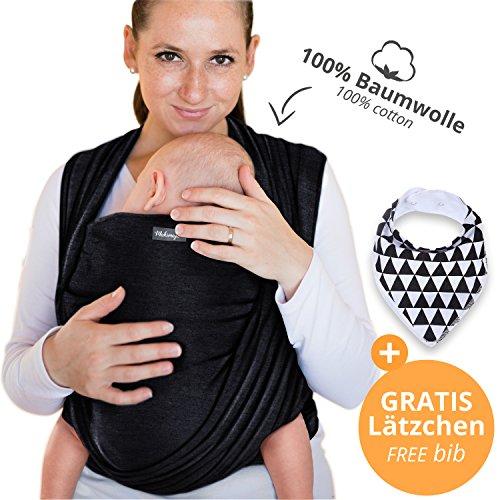 Makimaja - Portabebés hecho de algodón 100% - negro - portabebés de alta calidad para recién nacidos y bebés hasta 15 kg - incluye bolsa para guardar y babero