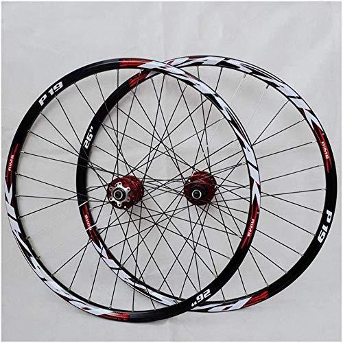 LIMQ Mountainbike-Räder Fahrradfelge 29/26 / 27 5 Zoll (vorne + Hinten) ATV Doppelwandige Aluminiumlegierung Schnellspanner-Scheibenbremse 32H 7-11 Geschwindigkeiten,Red-26in