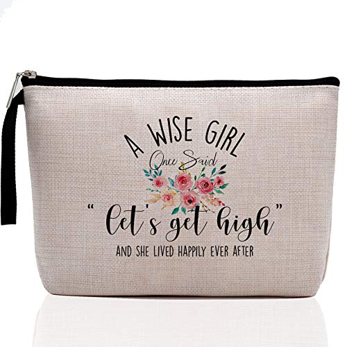 Marijuana Makeup Bag- Let's Get High-Weed Gifts, Pot Gifts, Stoner Gifts, Hemp Gifts, Pot Quotes, Funny Makeup Bag Stash Bag, Cosmetic Pouch, Travel Case