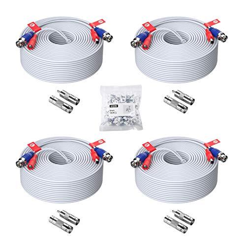ZOSI 4 Piezas 45 Metros Video Cable BNC para 4K 5MP 1080P DVR Kit Sistema de Cámara de Vigilancia Seguridad, Conector BNC a RCA, Blanco
