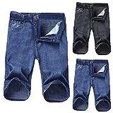 Men's Straight-fit Cut-Off Denim Shorts Comfort Waistband Shorts Summer Ripped Distressed Loose Denim Short Jeans