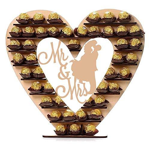 """Soporte de madera para exhibición de chocolate """"Mr. & Mrs Ferrero Rocher con forma de corazón para banquetes de boda, despedidas de soltera, celebraciones de aniversario"""