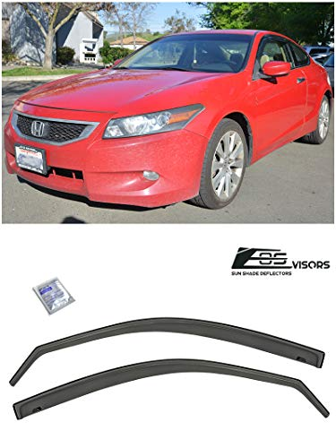 for 2008-2012 Honda Accord 2Dr Coupe | EOS Visors in-Channel Style Smoked Tinted JDM Side Window Vent Visors Rain Guard Deflectors