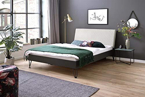möbelando Metallbett Einzelbett Singlebett Jugendbett Bett Boston 140x200 cm grau-beige