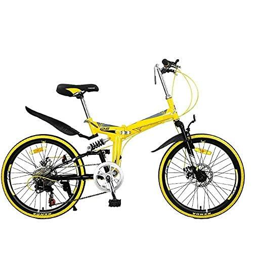 HUAQINEI Folding mountain bike, adult lightweight uni city bike 22 inch rim aluminum frame with adjustable seat,Yellow