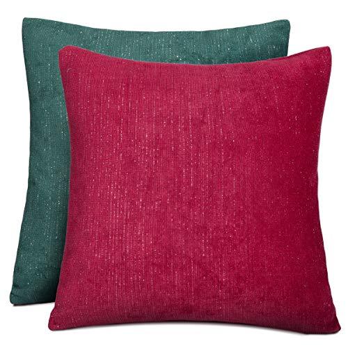 Rendiele - Federa decorativa per cuscino in velluto, quadrata, per divano, camera da letto, soggiorno, 40 x 40 cm, confezione da 2 (Natale)