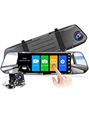 【2021 New Version】CHORTAU Mirror Dash Cam 7 Inches Touch Screen 1080P ,170° Wide Angle Front Camera and Waterproof Backup Camera, Car Camera With Parking Monitor, ReverseMonitorSystem, Motion Detection