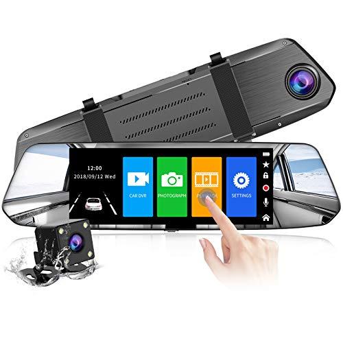 【2021 Version】 CHORTAU Spiegel Dashcam 7 Zoll Touch Screen Full HD 1080P, Weitwinkel Frontkamera und wasserdichte Rückfahrkamera, Auto Kamera mit Notrufaufzeichnung,Reverse Monitor System