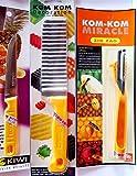 KiwiandKomKom Set profesional de decoración y decoración para frutas y verduras de Tailandia, 1 cuchillo decorativo Zic Zag, 1 cuchillo ondulado y 1 cuchillo de frutas y verduras.