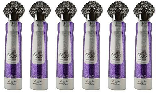 Asral Lail - Spray de 300 ml para el interior del coche, spray textil, elimina los olores encarcelados en los tejidos, aroma fresco, notas: rosa, cedro, almizcle, vainilla, Oud (lote de 6)