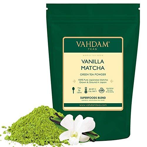 VAHDAM, Vanille Matcha Grüner Tee (50 Tassen)| 100% REINER japanischer Herkunfts-Matcha-Teepulver | 137x ANTI-OXIDANTEN | Gewichtsreduktion und zur täglichen Entgiftung | Japans SUPER FOOD, 100g