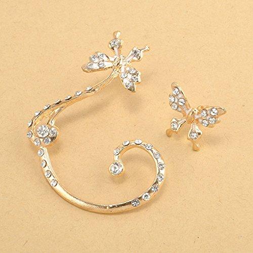 Elenxs Diamante de la aleación de la Mariposa gótica del Clip del Hueso del oído en los Pendientes del Abrigo del oído Cuff zarcillos para Mujeres de la Muchacha