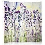 Legendarte - Biombo - Separador para interiores Lavender Watercolour 145 x 180 cm (4 paneles)