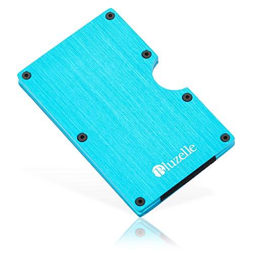 bluzelle Tarjetero de Aluminio con Clip de Dinero & Protección RFID, Pequeña Cartera Minimalista, Slim Credit Card Holder ID Case, Color:Azul