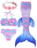 2018 Verano Traje de baño Sirena Chica Dos Piezas Brillante diseño de la Concha de Material cómodo Cosplay Bikini Set de cumpleaños(Regalo Gratis Crown) (L(8-9Y), Pinkblue)