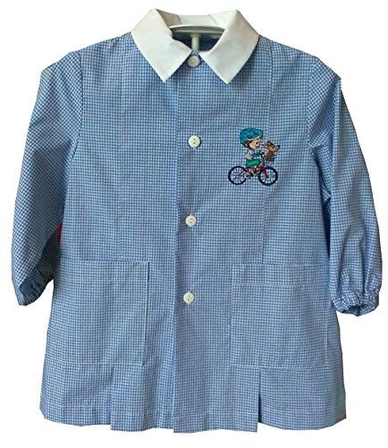 siggi Grembiule asilo da bambino 33GR23082 Quadretto bianco/azzurro (Quadretto bianco/azzurro, 4 anni)