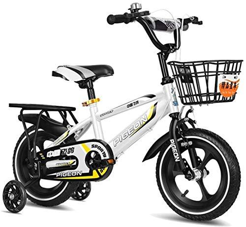 HongLianRiven BMX Kids Bike Freestyle Jungen und Mädchen Fahrrad 3 Farben, 12 Zoll, 14 Zoll, mit Stabilisator und Halterung Fahrrad 7-4 (Color : White, Size : 14in)