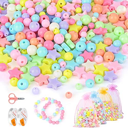 MEOWMEE 1200PCS Perline Colorate per Bambini, Perline per Braccialetti Fai da Te Perline Artigianali Perline Acriliche per Gioielli Fai da Te Collane Braccialetti con 4 Sacchetti di Organza