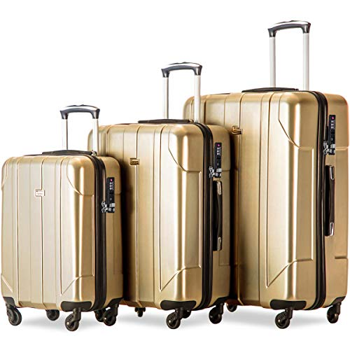Merax 3 Piece P.E.T Luggage Set with TSA Lock Eco-friendly Light Weight Spinner Suitcase (Gold)