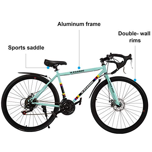 DOMDIL Commuter Road Bike 26 inch Wheels 21 Speed Shifting Bikes Dual Disc Brake Road Bicycle for Adults, Blue