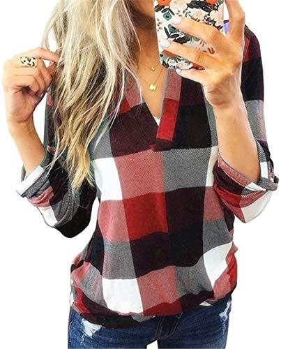 EMLAI Damska bluzka z dekoltem w kształcie litery V, w kratkę, elegancka bluzka na co dzień, na jesień, odzież ciążowa