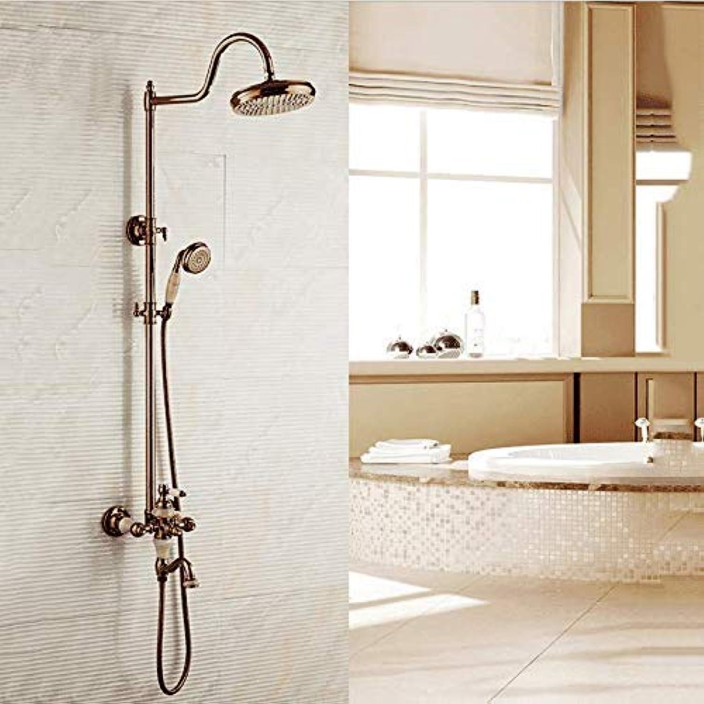 GFF Dusche Europische Retro Dusche Duschset Kupfer Aufzug Badezimmer Hei Hei Dusche Dusche Badewanne Dusche Mischbatterie
