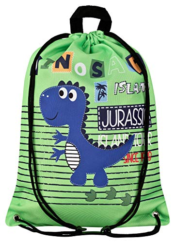 Aminata Kids Kinder-Turnbeutel Dinosaurier Dino 34-x-43-cm Jungen, Mädchen - grün, bunt - Nylon - Sicherheits-Reflektor, verstärkte Nähte, kein Chemiegeruch & rutscht Nicht durch Brustclip