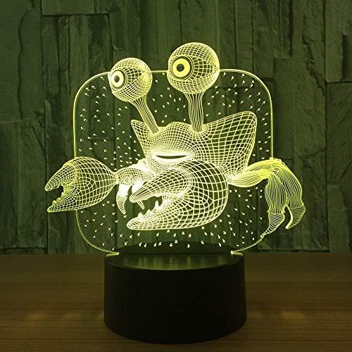 Lámpara de ilusión óptica 3D Cangrejo Luz de noche LED Niños Niños Decoración de dormitorio Luz de humor 16 Cambio de color táctil Lámpara de noche USB Regalo de cumpleaños de Navidad
