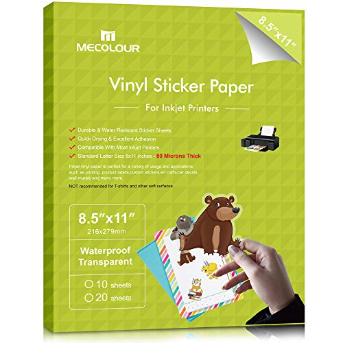 MECOLOUR Premium Printable Vinyl Sticker Paper for Inkjet Printer Transparent Waterproof 10 Clear sheets, Dries Quickly Vivid Colors, Holds Ink Well- Tear Resistant - Inkjet & Laser Printer