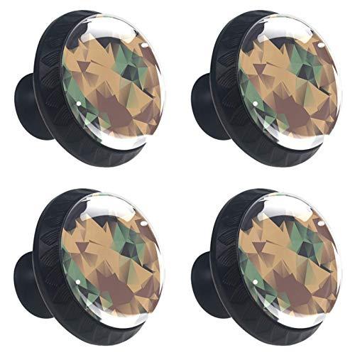 ATOMO 4 pomos para cajón de 30 mm de color oscuro abstracto, con figura geométrica de cristal, para armario, cajón.