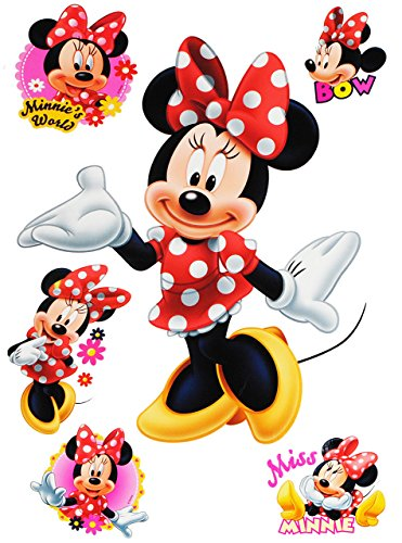 alles-meine.de GmbH 6 TLG. Set _ Wandtattoo / Sticker -  Minnie Mouse  - Wandsticker + Fenstersticker - Aufkleber für Kinderzimmer - Maus Playhouse / Mädchen - Kinder - Wandauf..